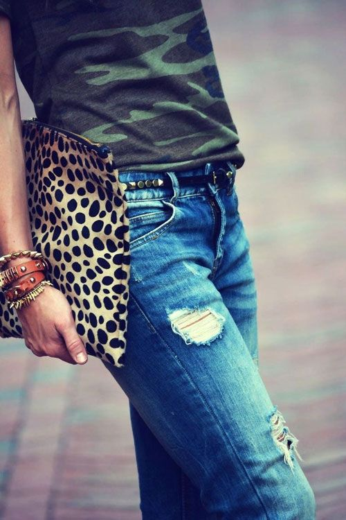 leopard t and camo clutch