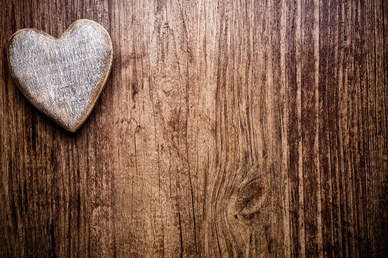 wood heart on wood