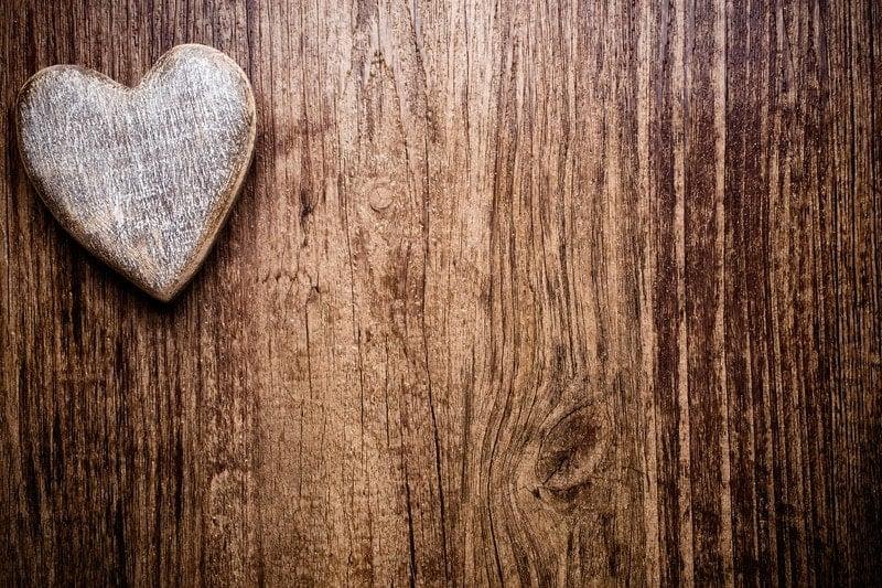 wood heart on wood