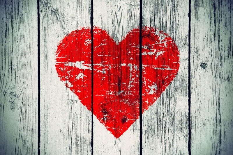 heart on wood wall
